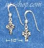 "Sterling Silver 1/4"" ANTIQUED CELTIC CROSS AND BEAD EARRINGS ON"