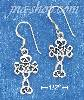 "Sterling Silver ANTIQUED 7/8"" SCROLLED CELTIC DESIGN CROSS EARRI"
