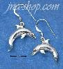 Sterling Silver SWIMMING DOLPHIN FRENCH WIRE EARRINGS