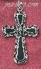 Sterling Silver LARGE MARCASITE CROSS W/ GENUINE ONYX ACCENTS