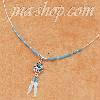 "Sterling Silver 16"" LIQUID SILVER NECKLACE W/ TURQUOISE BEARPAW"