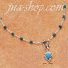 "Sterling Silver 16"" LIQUID SILVER W/ SEVENTEEN TURQUOISE BEADS &"
