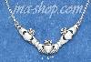 "Sterling Silver 18"" ANTIQUED TRIPLE CLADDAGH ""V"" CABLE NECKLACE"