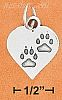 Sterling Silver HIGH POLISH HEART WITH PAW PRINTS CHARM