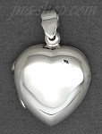 Sterling Silver MEDIUM HIGH POLISH FLAT HEART LOCKET