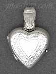 Sterling Silver MEDIUM HIGH POLISH W/ ETCHED BORDER HEART LOCKET