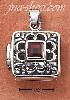Sterling Silver OPEN FILIGREE SQUARE LOCKET W/ GENUINE GARNET
