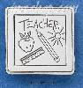 Sterling Silver SQUARE TEACHER PIN W/ APPLE RULER SUN & PENCIL