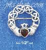 Sterling Silver CELTIC DESIGN CLADDAGH W/ SYNTHETIC GARNET CENTE