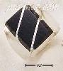 STERLING SILVER MEN'S LARGE OBSIDIAN RECTANGULAR STRIPED RING