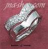 "Sterling Silver 2 PC SET PLAIN HIGH POLISH ""V"" BAND & PAVE CZ ""V"