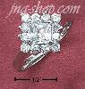 Sterling Silver WOMENS SQUARE CZ RING W/ CZ BORDER ON PLAIN BAND