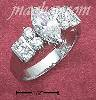 Sterling Silver WOMENS 6X12 MARQUISE CZ RING W/RND & PRINCESS CU