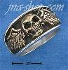 Sterling Silver MENS BRONZE SKULL W/ WINGS RING (9-15)