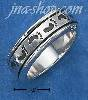 Sterling Silver MENS ANTIQUED IMPRINTED FOOTPRINT SPINNER BAND (