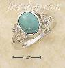 Sterling Silver OVAL TURQUOISE RING W/ SMALL FLOWER SCROLLED SPL