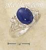 Sterling Silver OVAL LAPIS RING W/ SMALL FLOWER SCROLLED SPLIT S