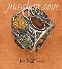 Sterling Silver LARGE MULTICOLOR AMBER W/ OPEN DESIGN BAND RING