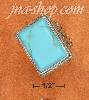 Sterling Silver 13X18MM RECTANGULAR TURQUOISE RING WITH FLORAL F