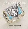 Sterling Silver MEN'S EAGLE W/ DOUBLE TRIANGLE TURQUOISE & SQUAR