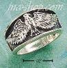 Sterling Silver ANTIQUED BAND W/ SS FLYING EAGLE SIZES 6-13