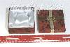 "RED MARBLE CARDBOARD PIN/BRACELET BOX W/GOLD BOW 3-2/8"" X 2-2/8 "" X"